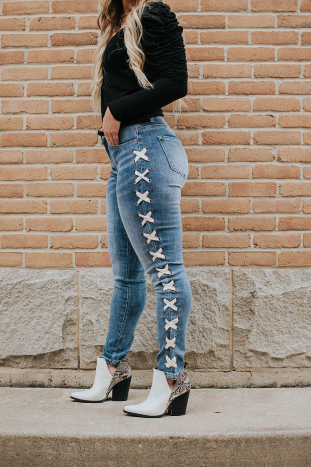 Denim Cross Laced Sides