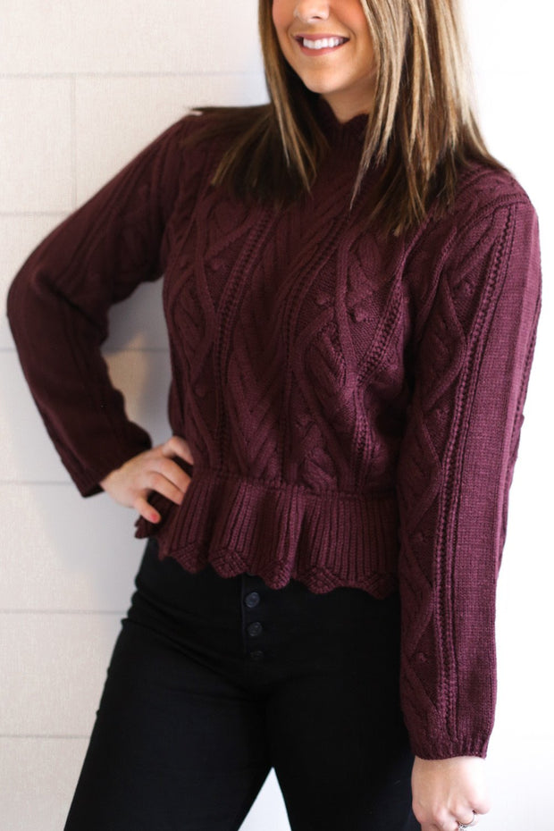 SCALLOPED RUFFLE HEM SWEATER (WINE)