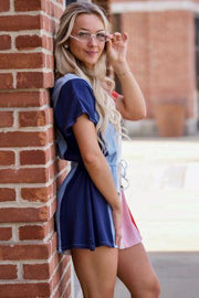 V Neck Color Block Romper