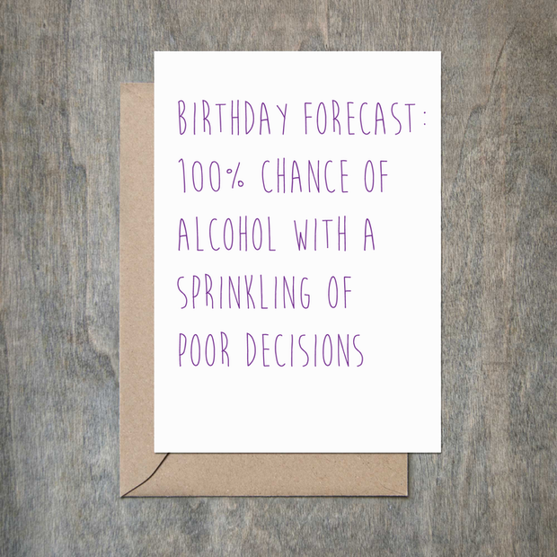 Poor Decisions Birthday Card