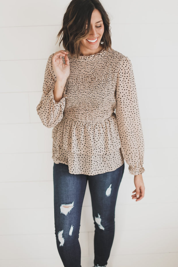 CHEETAH SMOCKED TOP