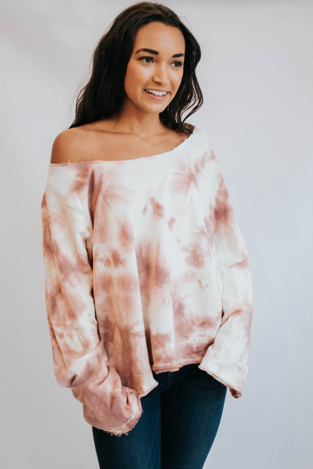 Raw Neck Mauve & Cream Tie Dye Sweater