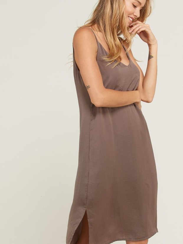 Mocha V Neck Cami Dress-Final Sale