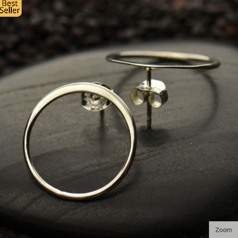 Sterling Silver Large Open Circle Stud Earring