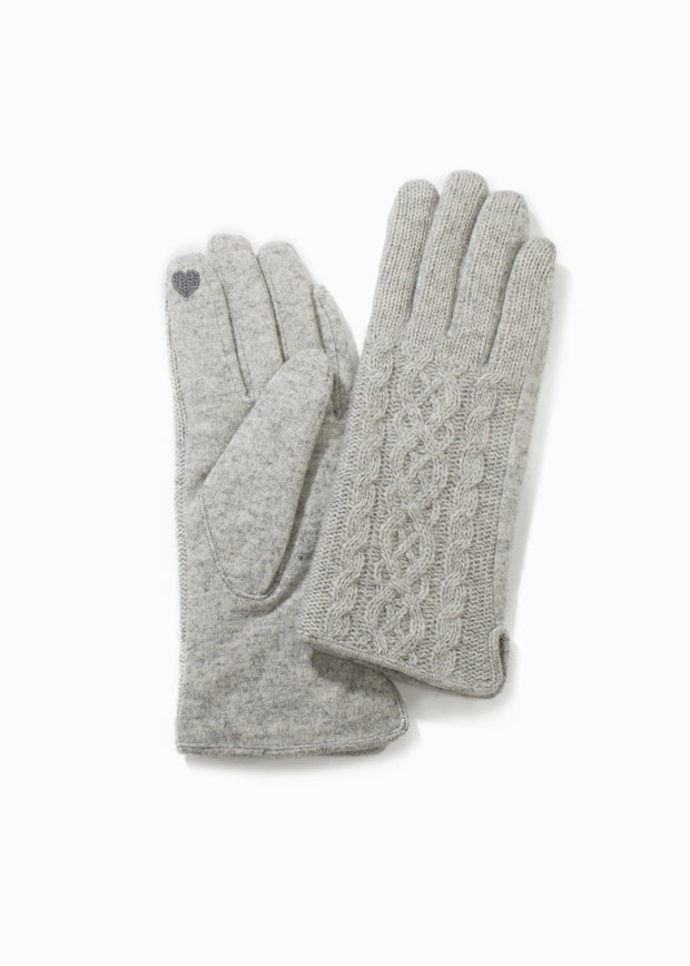 Knitted Cable Gloves-Grey-Final Sale