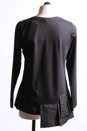 Elena Wang Knit Top with Panels Black EW25176