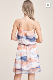 Sunset at the Lake Coral Tie-Dye Dress