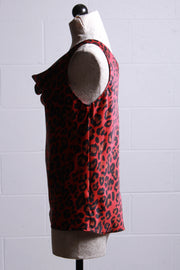 Frank Lyman Cowl Neck Sleeveless Top Red Leopard 203493