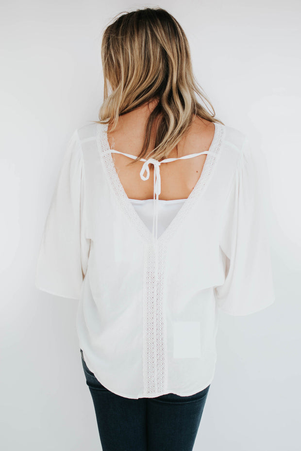 Lace Tape Front Detail Blouse White