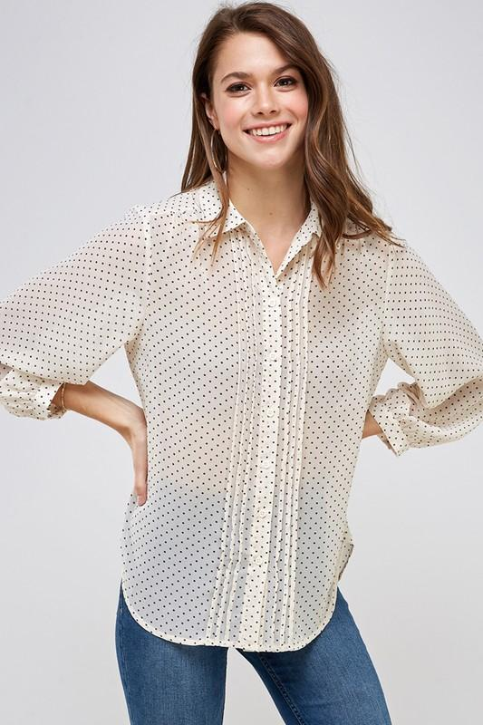 Creatively Classic Ivory Polka Dotted Top