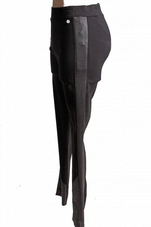 Que Faux Leather Side Striped Skinny Pants Black