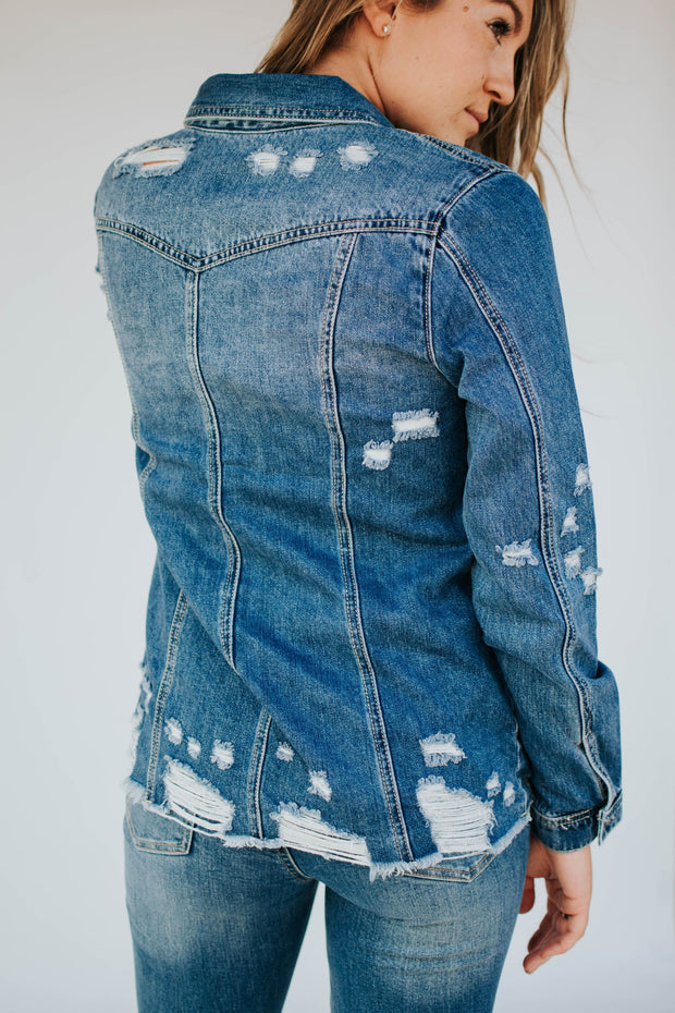 Medium Wash Fray Hem Denim Top Jacket