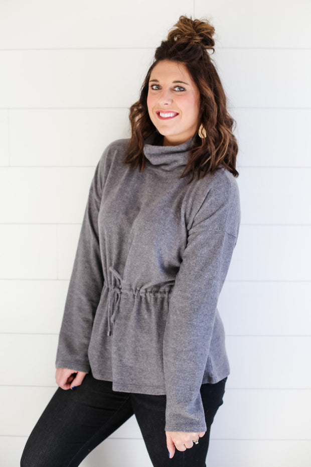 GREY TURTLE NECK PULLOVER