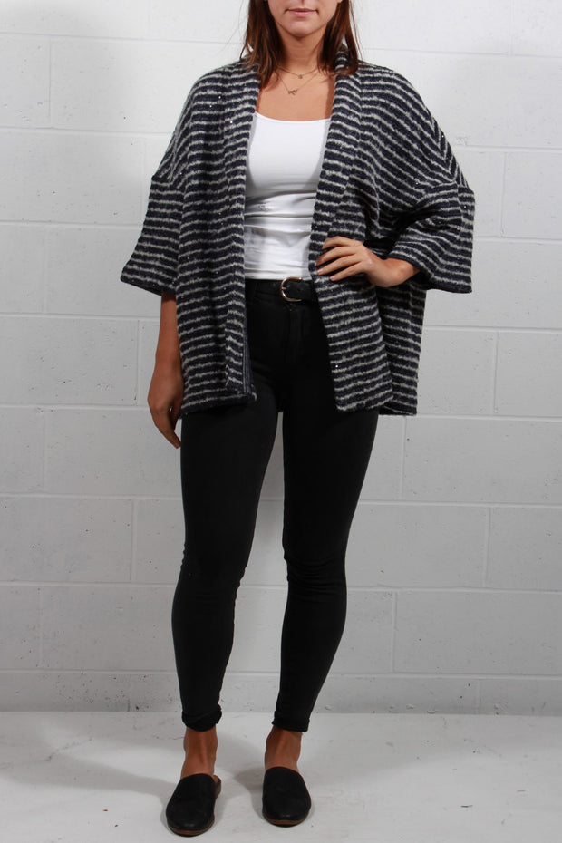 The Korner Striped Sequin Jacket Navy