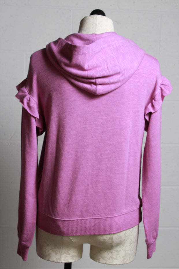 Monrow Supersoft Pullover Hoody with Ruffle