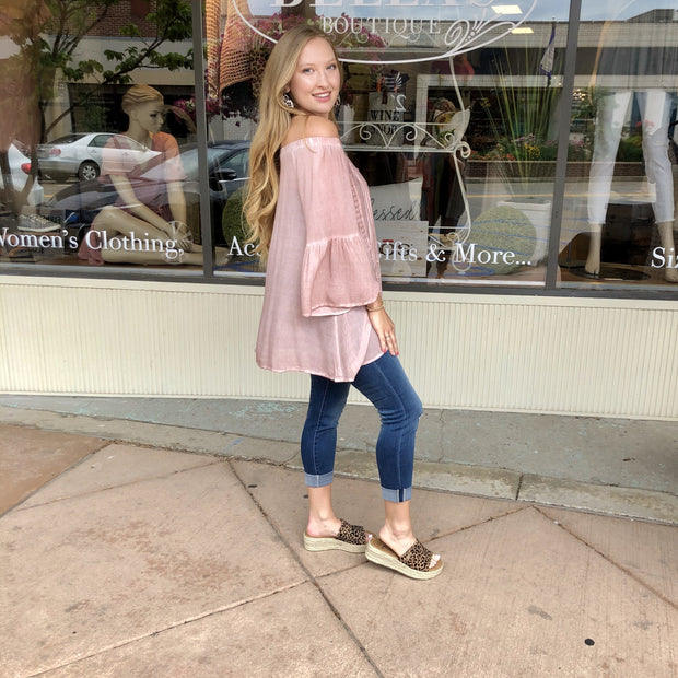 Blush Boho Off The Shoulder Crochet Accent Top
