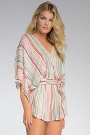 V Neck Romper Multicolored Stripes