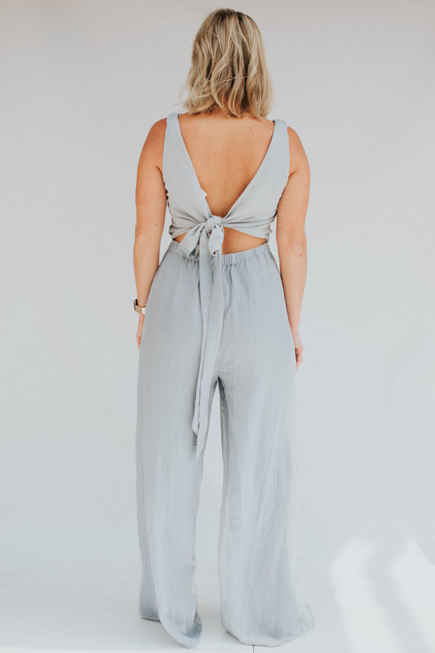 Robins Egg Tie Back Jumpsuit - FINAL SALE