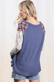 Love You Better Contrast Sleeve Navy Top