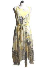 Frank Lyman Sleeveless Yellow Printed Dress