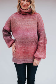 Multicolored pink/purple turtleneck sweater