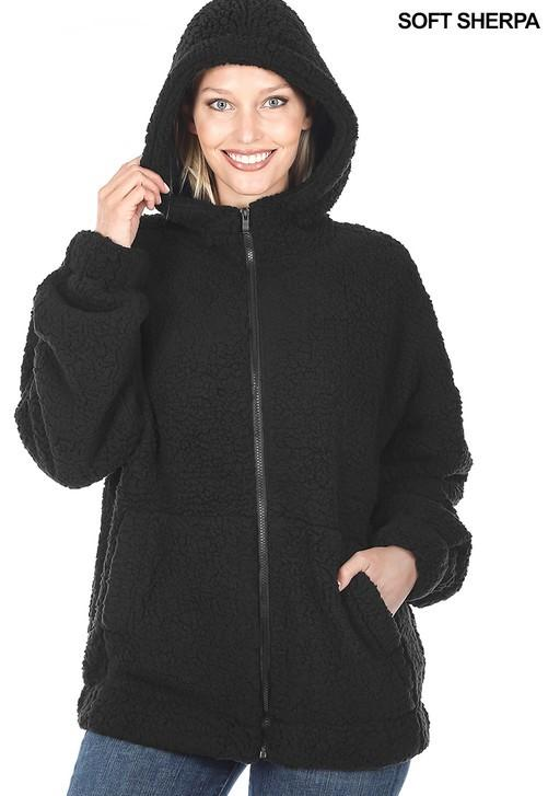 Soft Sherpa Hooded Zipper Front Jacket - Black - FINAL SALE