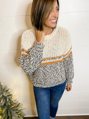 COLOR BLOCK GAUGE SWEATER