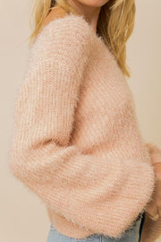 Lean On Me Blush Pink Open Back Sweater