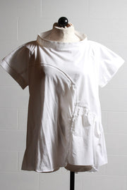 Ozai n Ku Ruffle Top White HAZELNUT