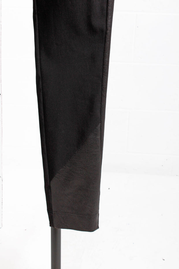 Que Faux Leather Side Striped Skinny Pants Black 8165