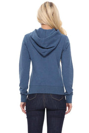 Time to Unwind Denim Blue Zip Up Hoodie