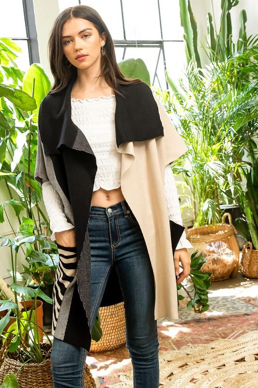 Captivating & Carefree Color Block Sleeveless Cardigan