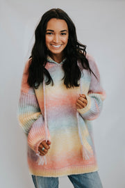 Tie Dye Cable Knit Pullover W/Hood & Pocket Pastel