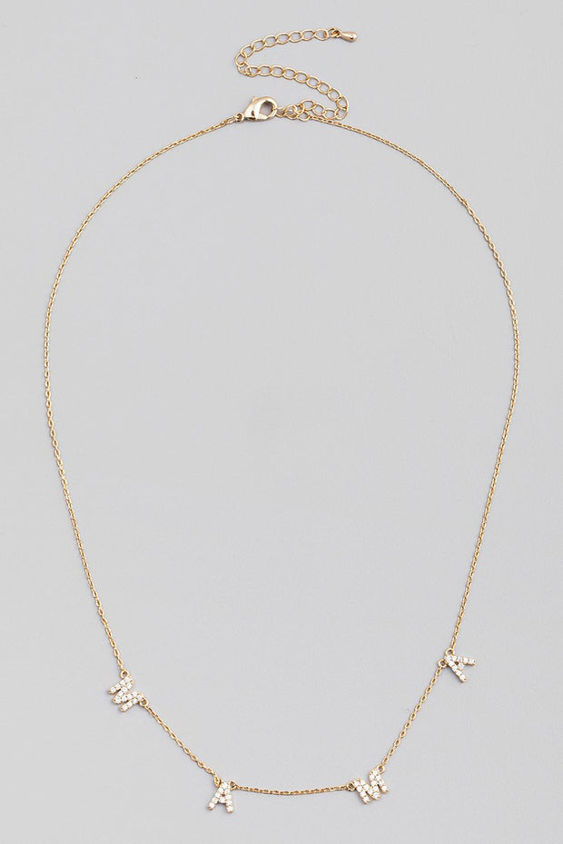 Rhinestone Mama Charm Necklace // Gold