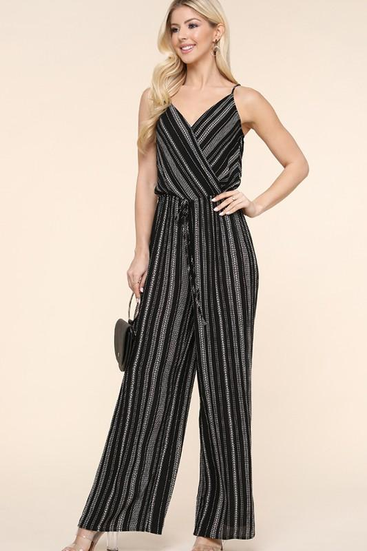Jump Into My Life Black Striped Jumpsuit