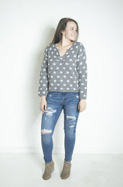 All You Ever Heather Grey Polka Dot Knit Top