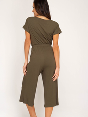 Olive Ribbed Jumpsuit