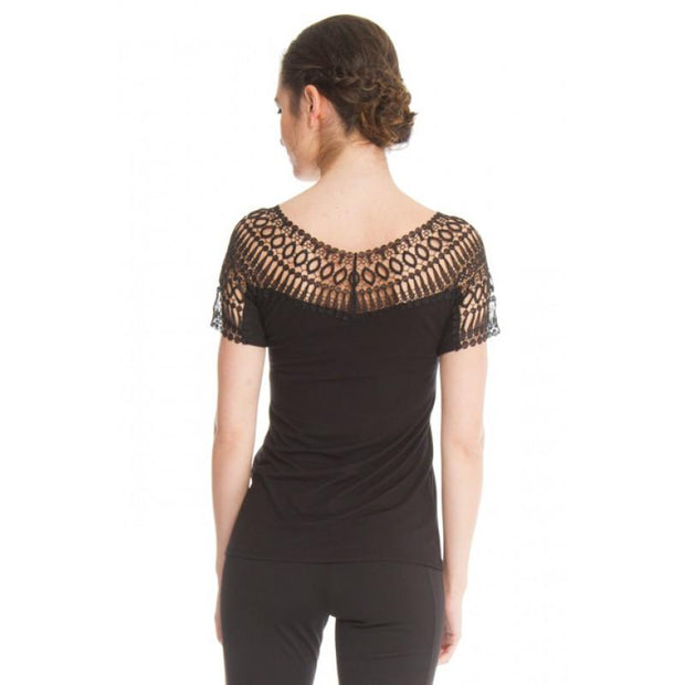 Arianne Teri Short Sleeve Lace Trim Top