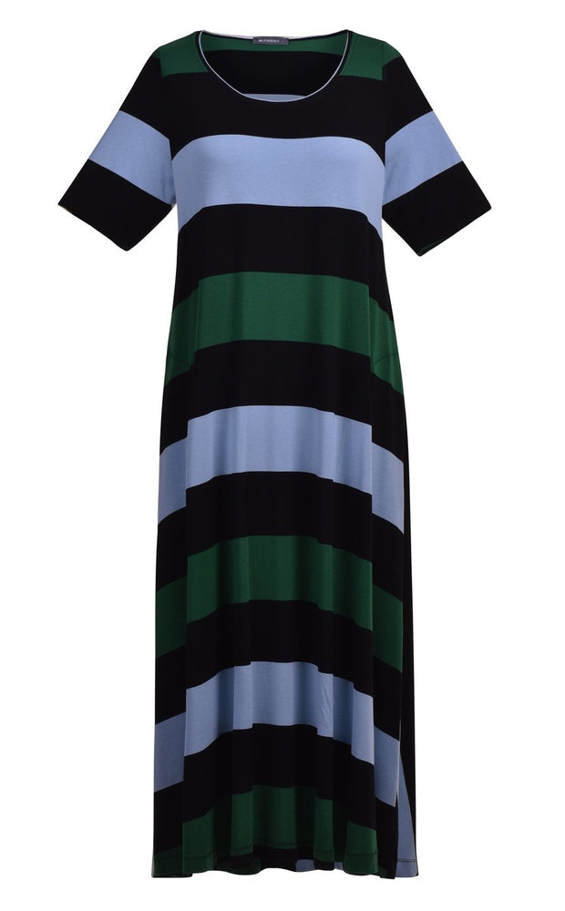 Alembika Wide Stripe Dress Blue Green