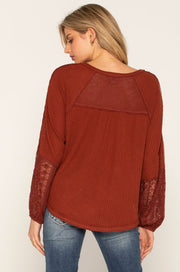 Burgundy Raglan Knit Top