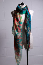 Blue Pacific Butterfly Vintage Artisan Scarf Dusty Teal