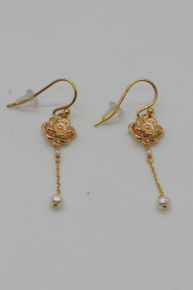 Chan Luu 18K Gold SS Earrings Fresh Water Pearls