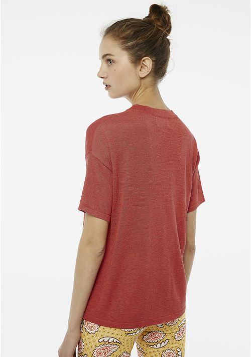 Compania Fantastica Sparkle Short Sleeve Sweater Red