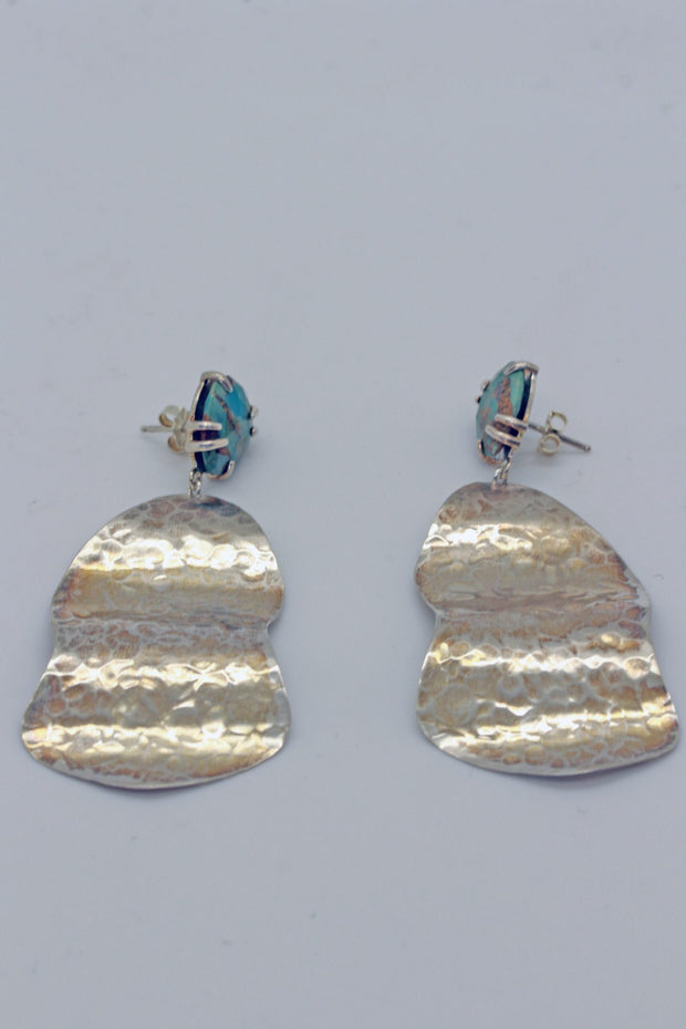 Chan Luu Sterling Silver Rippled Earring with Stone