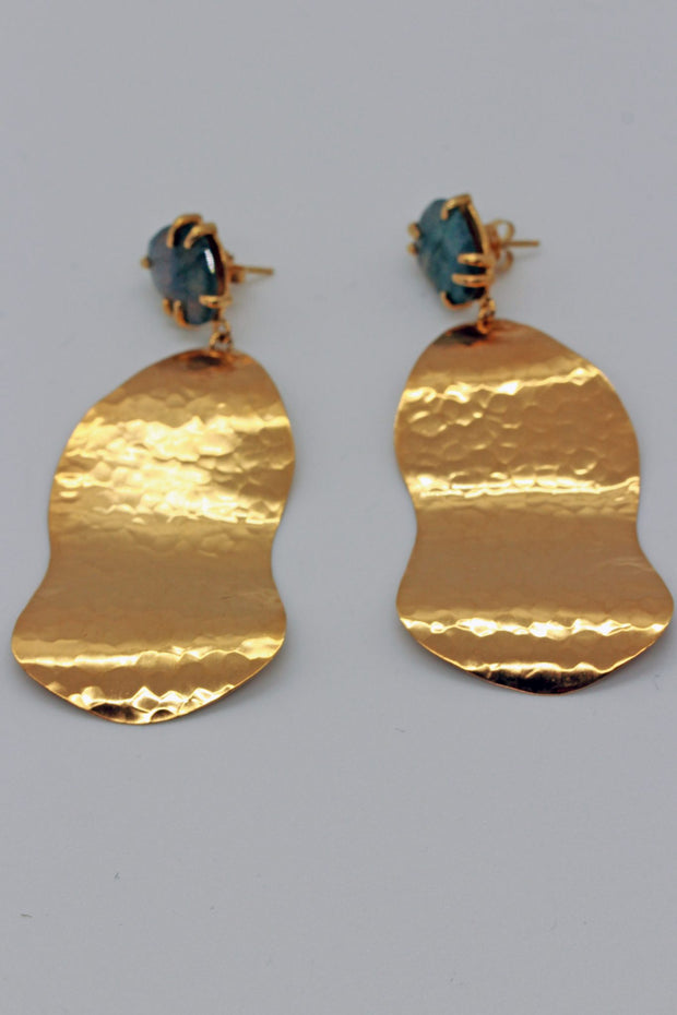 Chan Luu Gold Rippled Earring with Stone