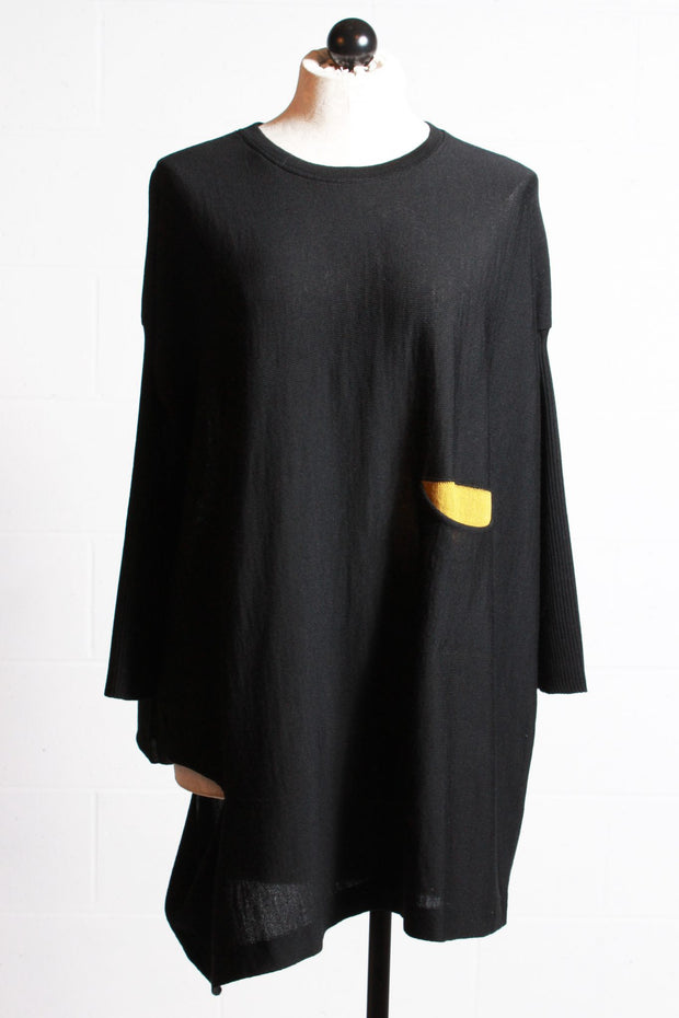 Chiara Cocol Pullover Tunic Sweater Yellow Black