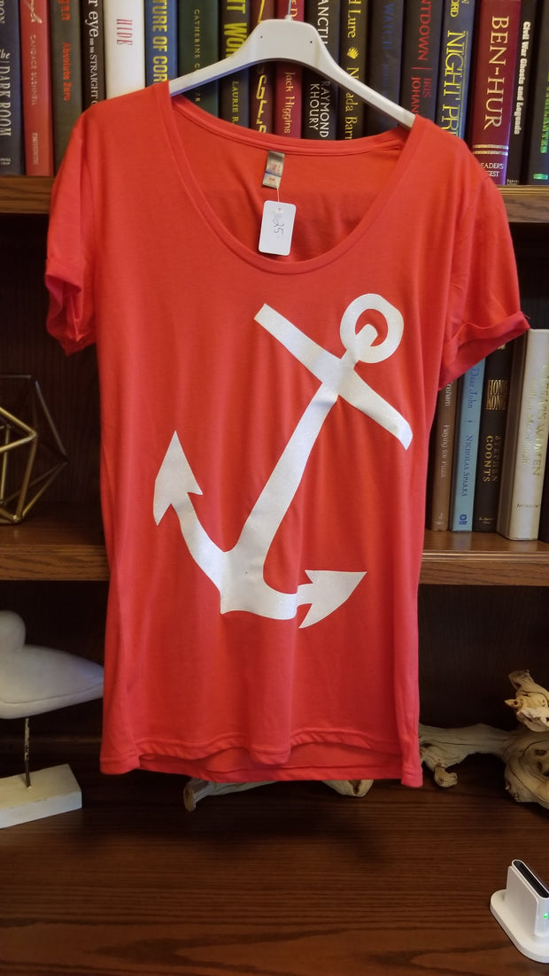 Adult Glitter Anchor Tee