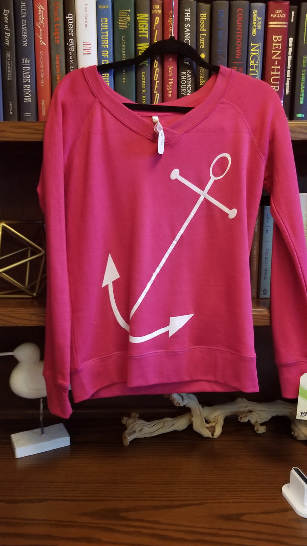 Adult Glitter Anchor VNeck Sweatshirt