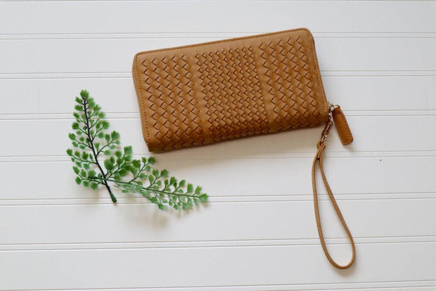 Best Impression Woven Tan Clutch