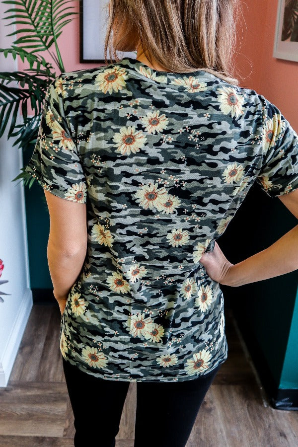 Daisy Camo Lace-Up Front Top
